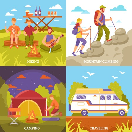 four people: Camping hiking design concept with four square outdoor compositions motorhome tent campfire and faceless people characters vector illustration