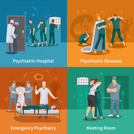 Psychiatric illnesses concept icons set with emergency psychiatry symbols flat isolated vector illustration Фото со стока - 72793572