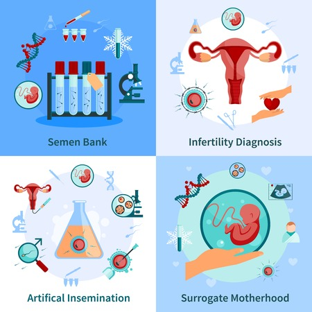 infertility: Artificial insemination concept icons set with pregnancy symbols flat isolated vector illustration Illustration