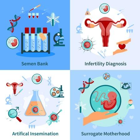 inseminación artificial concepto iconos fijados con símbolos de embarazo ilustración del vector aislado plana