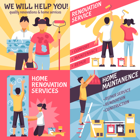Renovation design concept with four retro style compositions with text and male female home improvement crew vector illustration