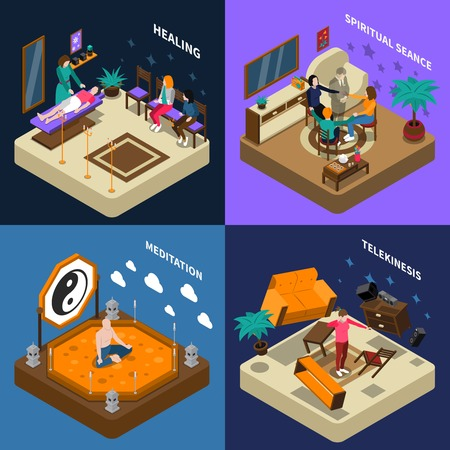 psychic: Paranormal abilities isometric compositions with people healing and calling of spirit telekinesis and meditation isolated vector illustration Illustration