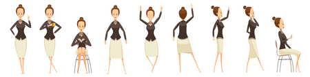 phone business: Set of various poses of business woman with emotions on face cartoon style isolated vector illustration