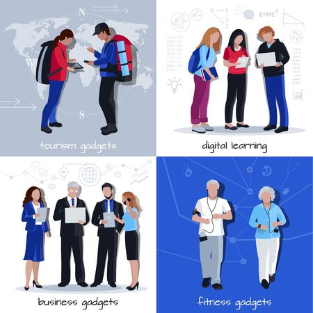 vacation with laptop: People traveling learning exercising and communicating with business colleagues with gadgets 4 flat icons isolated vector illustration