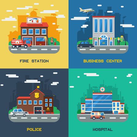 Government buildings 2x2 flat design concept set of fire station business center police and hospital vector illustration Ilustração