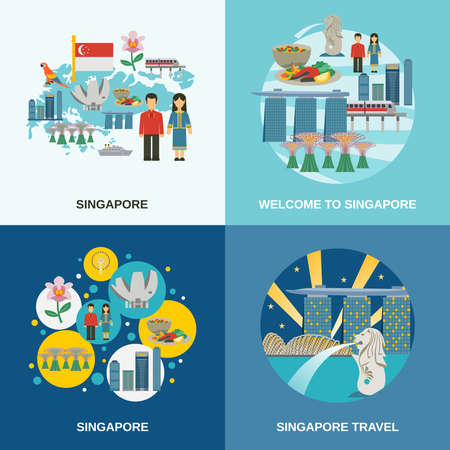 Tourist attractions in Singapore 4 flat icons composition poster with cultural symbols pictograms abstract isolated vector illustration Illustration