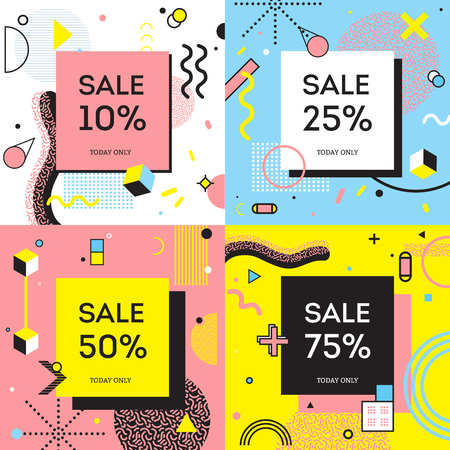 Sale concept in memphis style with percentage of discount on background with geometric shapes isolated vector illustration