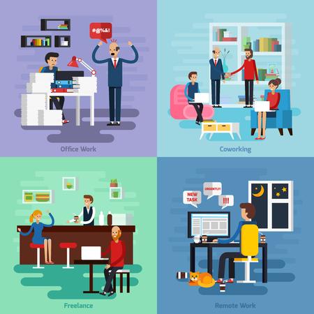 empleados trabajando: Cuatro composición carácter de trabajo conjunto con la plaza independiente coworking trabajo de oficina y descripciones de trabajo remotos ilustración vectorial