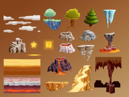 コンピューター ゲーム黄金の溶岩火山噴火キャラメル茶色の背景ベクトル図と 3 d の明るい輝く要素のコレクション