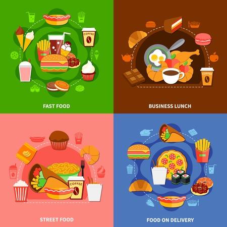 De snelle voedselketens onderhouden 4 vlak pictogrammenvierkant met online orden en bedrijfs lunch geïsoleerde vectorillustratie Vector Illustratie