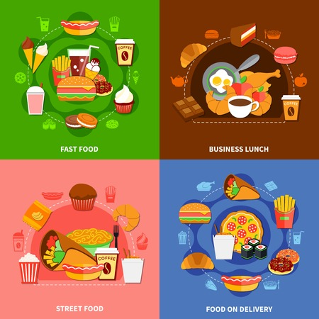 Fast food chains service  4 flat icons square with online orders and business lunch isolated vector illustration