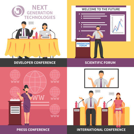 lecture hall: Four square conference hall interior icon set with developer conference press conference scientific forum international conference descriptions vector illustration