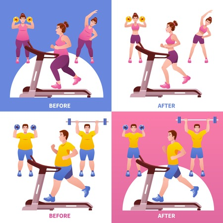 before: Four square colored and isolated fitness design concept with before and after descriptions vector illustration Illustration