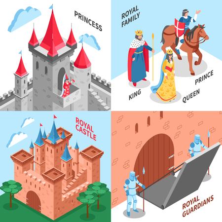 Four square royal castle design concepts with princess royal family royal castle and royal guardians vector illustration