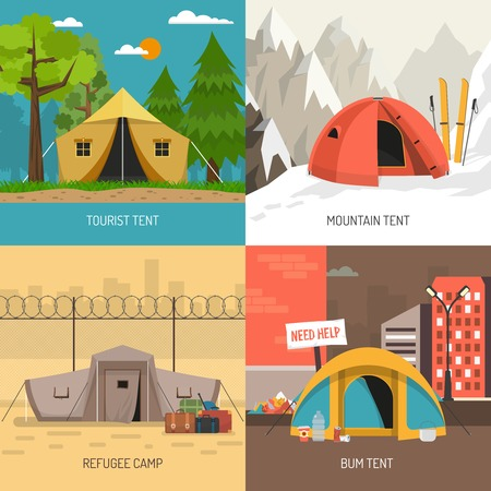 overnight: Camping tent concept 4 icons square design with family summer and winter sportive models isolated vector illustration