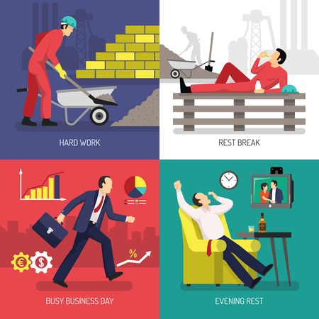 lounging: Design concept with tired worker after hard labor and rest after busy business day isolated vector illustration