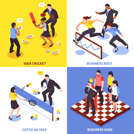 Flat competition business icon set with idea cricket business race catch an idea and business king descriptions vector illustration