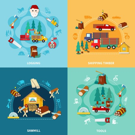 lumberman: Four flat square lumberjack icon set with logging shipping timber sawmill and tools descriptions vector illustration