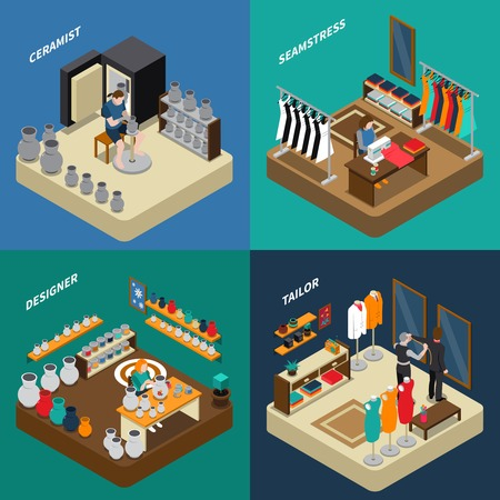 Craftsman isometric compositions with potter and designer with ceramics seamstress and tailor with clothing isolated vector illustration