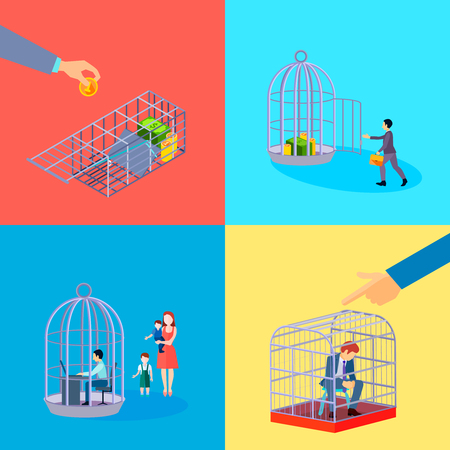 Set of square cage office business money conceptual compositions with financial worker character languish in detention vector illustration Illustration