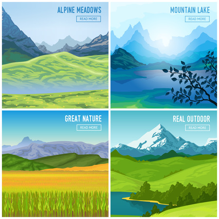 Nature landscape concept with four square outdoor compositions of mountains drawn images and read more button vector illustration Illustration