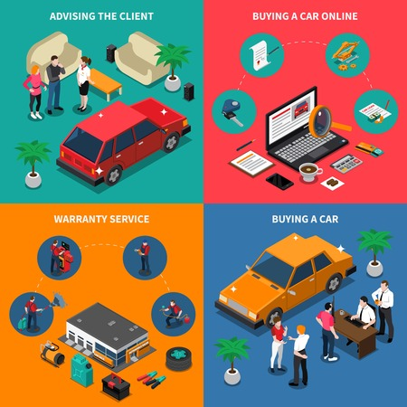 online purchase: Car dealership isometric concept with advising customer and online purchase warranty service buying vehicle isolated vector illustration Illustration