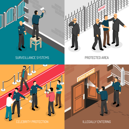 weapons: Celebrities bodyguards professional protective security service daily activities concept 4 isometric icons square poster isolated vector illustration Illustration