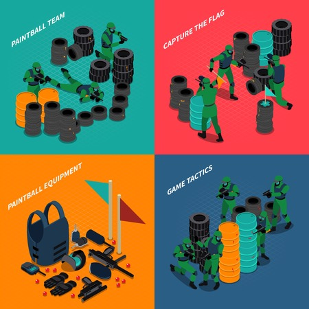 Paintball isometric compositions with equipment and team of players capture flag and game tactics isolated vector illustration