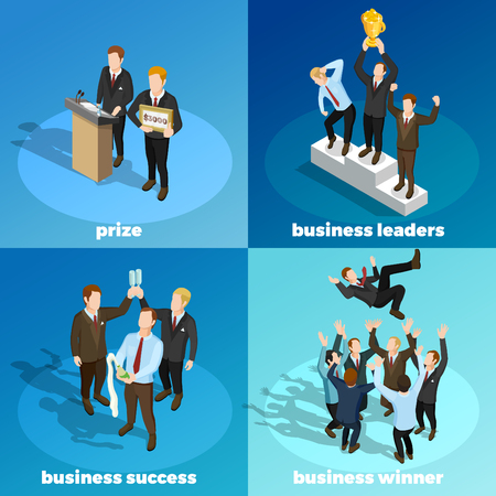 Successful leading business projects managers winners concept 4 isometric icons square with prize money award  isolated vector illustration Illustration