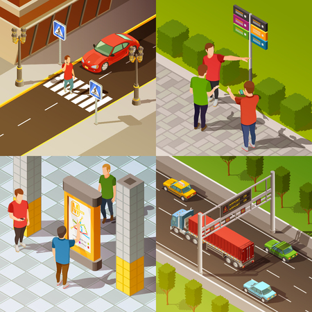 Colorful city navigation 2x2 isometric composition isolated vector illustration