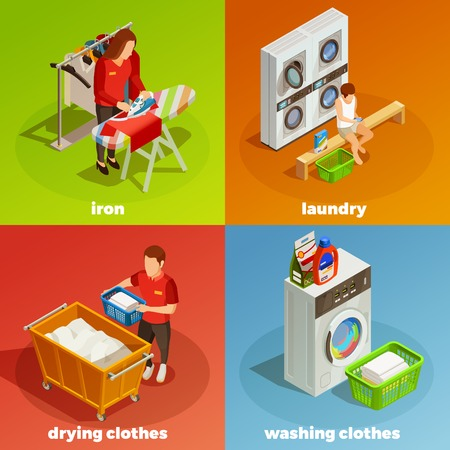 Colorful laundry ironing drying washing and cleaning clothes 2x2 isometric composition isolated vector illustration Illustration