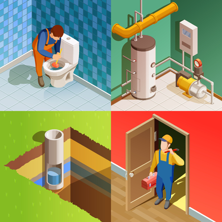 Plumber fixing problem concept 4 colorful isometric icons square with unclogging toilet with plunger isolated vector illustration