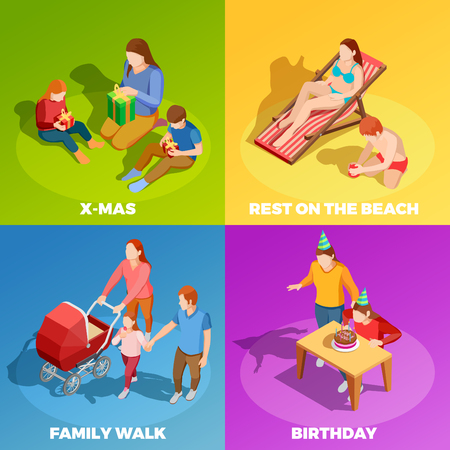 Family holidays birthday celebration vacations outdoor activities 4 isometric icons square with vibrant color background isolated vector illustration Illustration