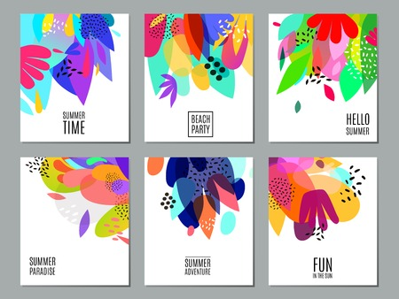 Summer time events and actions advertisement 6 bright colorful abstract white backgrounds banners collection isolated vector illustration