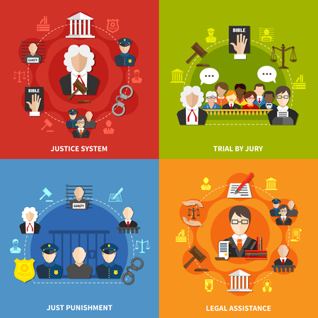 courthouse: Four square flat law icon set with justice system trial by jury and others descriptions vector illustration
