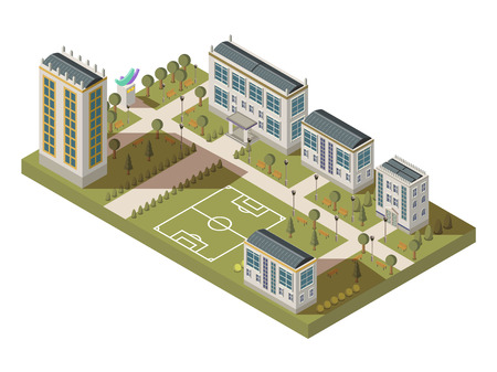 Isometric university big composition with campus yard lanes houses with shadows and football playground vector illustration