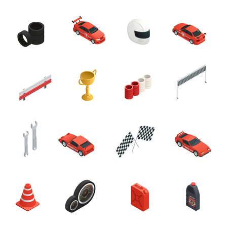 grand prix: Sixteen isolated car race isometric icons set with tyres cars oil cans winner cup and helmet vector illustration Illustration