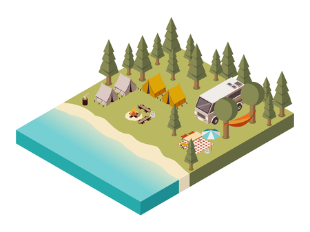 Camp near lake with van tents and bonfire umbrella table and chairs picnic baskets   isometric vector illustration