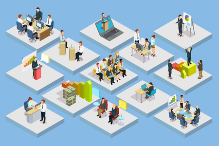 Business training isometric set with staff coaching and learning on gray squares isolated vector illustration Ilustração