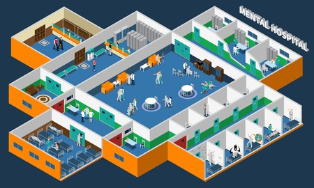 Mental hospital isometric interior with office patients and staff common rooms and separate wards vector illustration Illustration