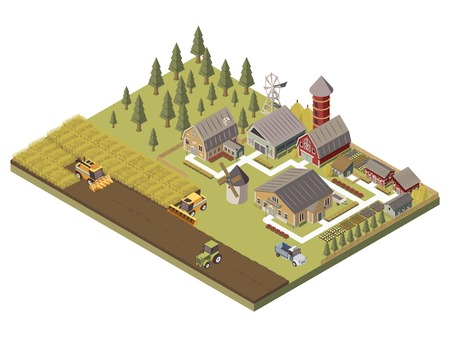Farm buildings agricultucal vehicles and cultivated fields garden beds and trees tracks and fence isometric vector illustration