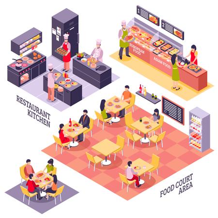 Sistema conceptual del diseño interior del restaurante de Fastfood con los storeys isométricos aislados del área del patio de comidas y la ilustración del vector de la cocina