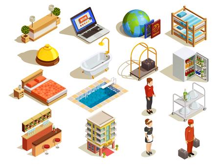 Icône isométrique d'hôtel avec lits d'habitation salle de bain bureau de réception sirène et sirène personnage illustration vectorielle Banque d'images - 72892686