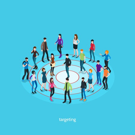 one people: Targeting isometric template with people crowd on target and one person in center isolated vector illustration Illustration