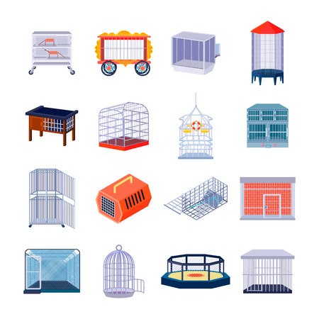 Set of sixteen isolated empty animal cage fighting ring and prison retro images with metal bar vector illustration Illustration