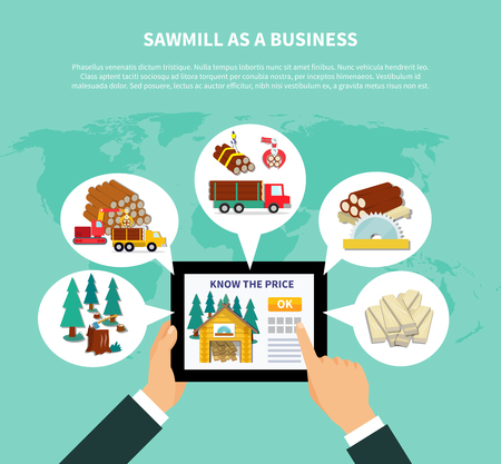 Sawmill as a business composition with businessman s hands holding tab and viewing website on know the price page vector illustration Illustration