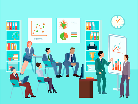 worker working: Statistics analytics business worker characters meeting composition with staff working session toolbox talk graphs and diagrams vector illustration