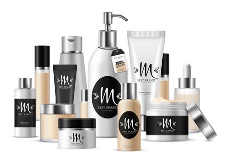 Composição de modelo cosmético colorido para apresentação do negócio e com etiqueta com ilustração vetorial de marca