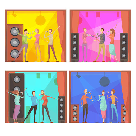 party club: Set of four flat karaoke party compositions with group of singing friends characters in club interior vector illustration
