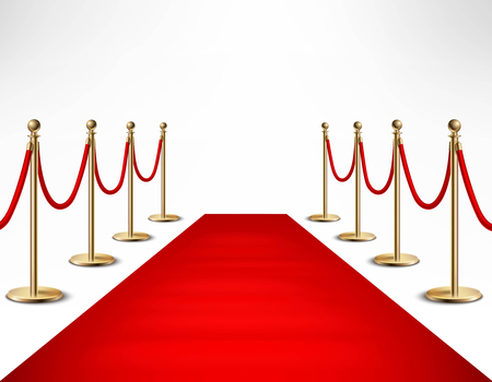 Red carpet ceremonial vip event  or head of state visit realistic image with gold barriers vector illustration